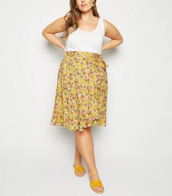 Curves Yellow Ruffle Wrap Mini Skirt