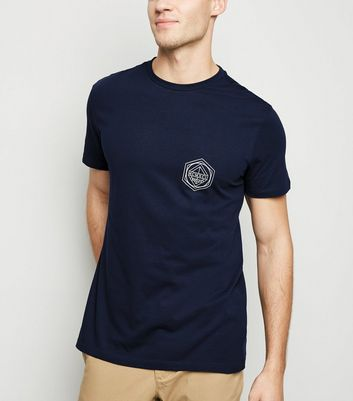 Navy Geometric BRKLYN Slogan T-shirt