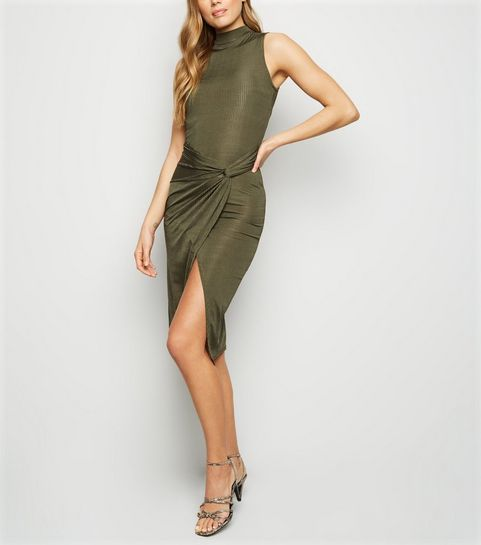 ... Khaki Slinky Twist Front Bodycon Dress ... c92bce63e