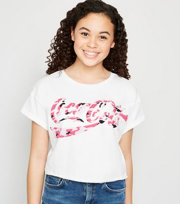 Girls White Camo Coca-Cola Slogan T-Shirt