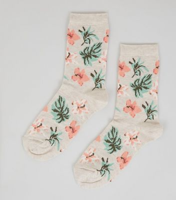 Cream Tropical Floral Socks