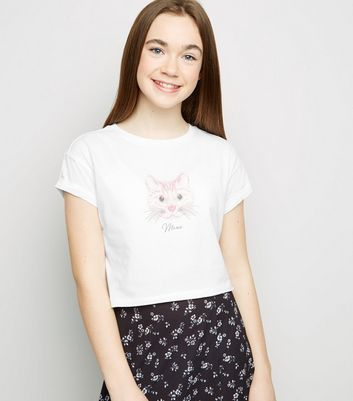 Girls White Cat Meow Slogan T-Shirt