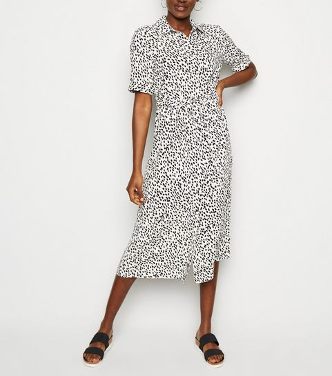 452a26de1c9 ... White Spot Drawstring Waist Midi Shirt Dress ...