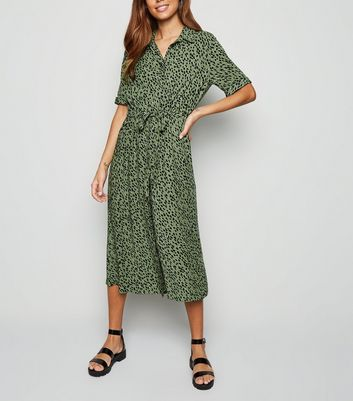 Green Spot Drawstring Waist Midi Shirt Dress