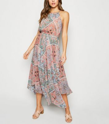 Orange Chiffon Tile Print Midi Dress by New Look