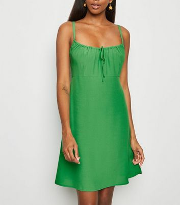 Green Square Neck Strappy Mini Dress