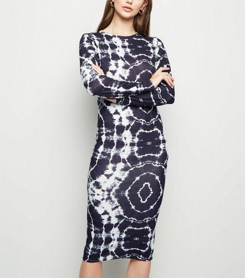 6079c54946a ... Black Tie Dye Jersey Bodycon Midi Dress ...
