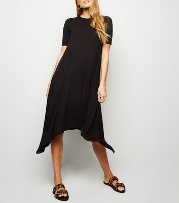 Black Hanky Hem Jersey Midi Dress