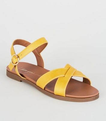 Wide Fit Mustard Leather-Look Cross Strap Sandals