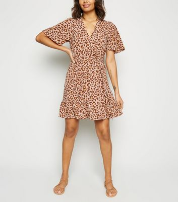 Brown Leopard Print Wrap Dress