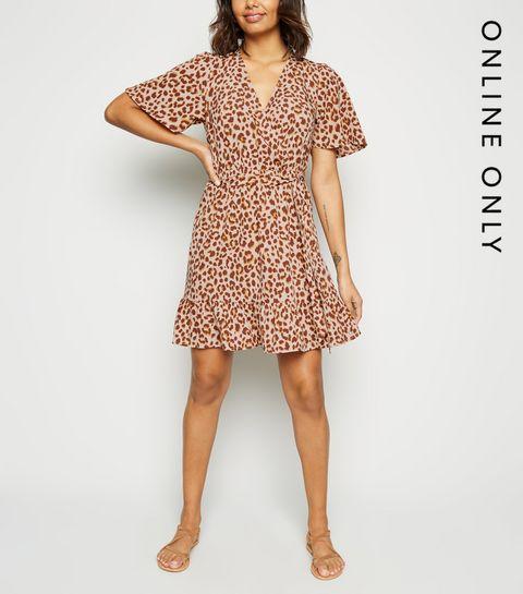 59af425310e ... Brown Leopard Print Wrap Dress ...