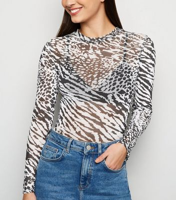 Black Mixed Animal Print Mesh Top