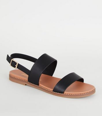 Black Leather-Look 2 Strap Footbed