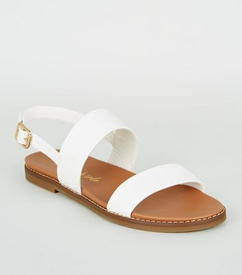White Leather-Look 2 Strap Footbed Sandals