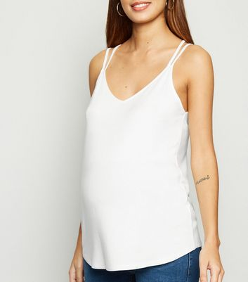 Maternity Off White Cross Back Cami