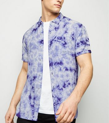 Blue Tie Dye Short Sleeve Shirt