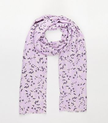 Lilac Ditsy Floral Print Scarf