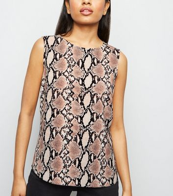 petite pink snake print sleeveless top new look
