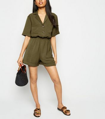 Petite Khaki Button Up Utility Playsuit
