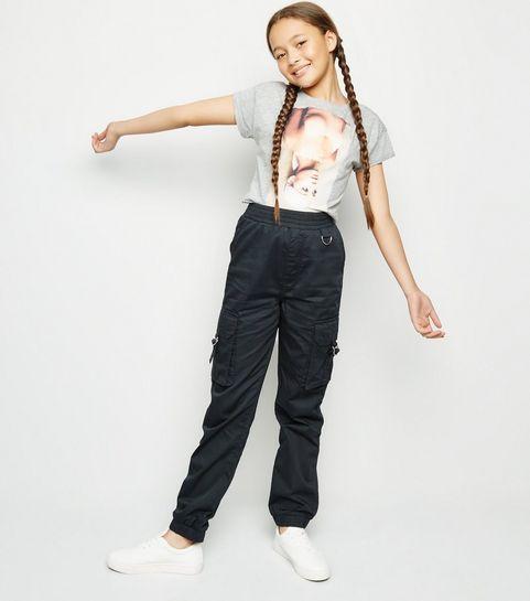 bce06e81e478 Girls Black Satin Utility Trousers · Girls Black Satin Utility Trousers ...