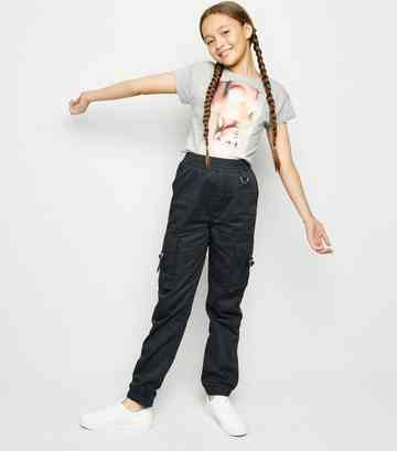 Girls Black Satin Utility Trousers