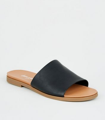 Black Leather-Look Strap Footbed Sliders