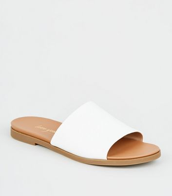 White Leather-Look Strap Footbed Sliders