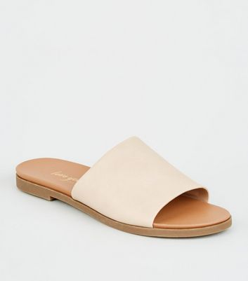 Nude Leather-Look Strap Footbed Sliders