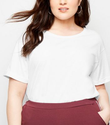 Curves White Longline T-Shirt