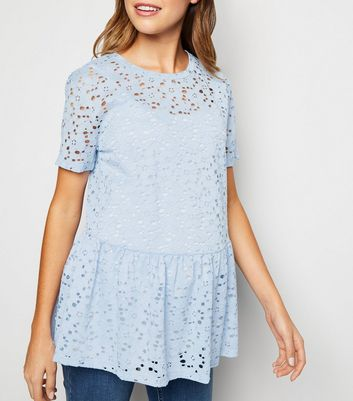 Maternity Pale Blue Lace Peplum Top