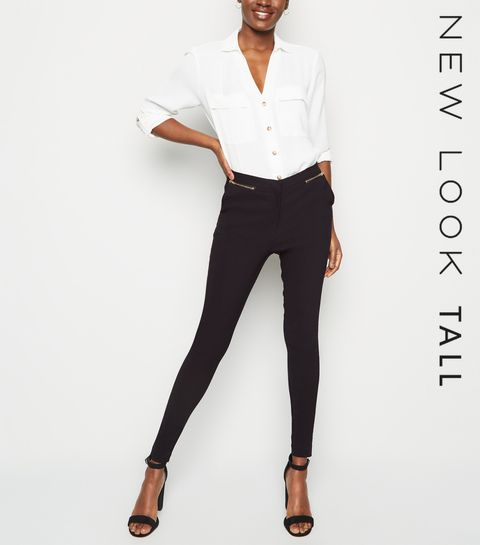 86298988e33b4 ... Tall Black Zip Front Slim Stretch Trousers ...