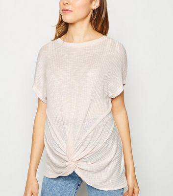 Maternity Pink Fine Knit Twist Front Top