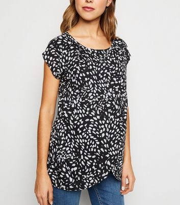 Maternity Black Animal Print Wrap Nursing Top