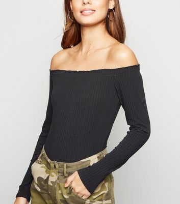 Black Ribbed Frill Trim Bardot Bodysuit