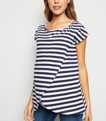 Maternity Navy Stripe Wrap Nursing Top