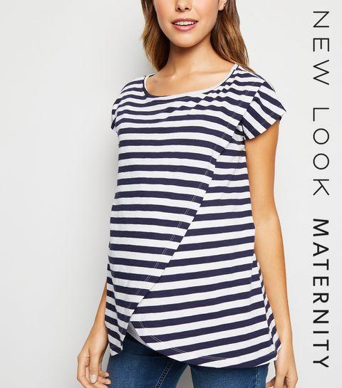 19627e98320 ... Maternity Navy Stripe Wrap Nursing Top ...