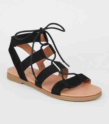 Black Suedette Lace Up Ghillie Footbed Sandals