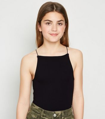 Girls Black Cami Bodysuit