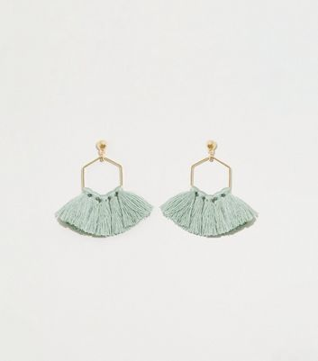 Green Tassel Trim Hexagon Shell Earrings
