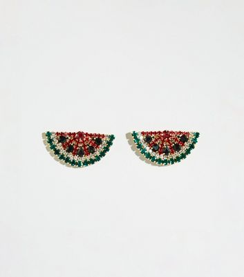 Multicoloured Watermelon Diamanté Stud Earrings