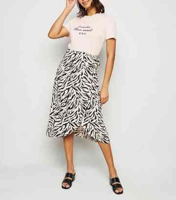 15523b7f5f Brown Tiger Print Wrap Midi Skirt ...