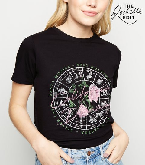 187464ad6e3 ... Black Mystic Star Sign Slogan T-Shirt ...