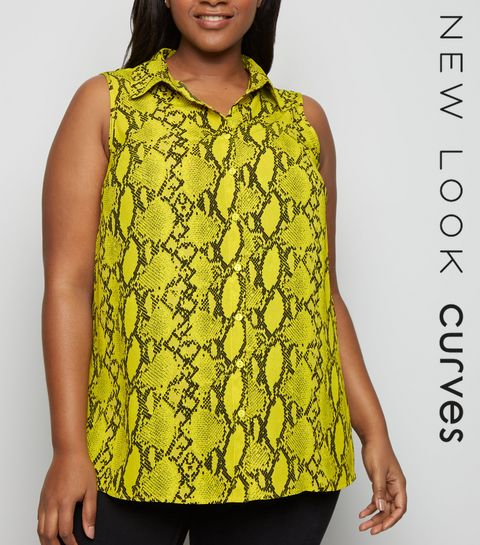 96b1518df06 ... Curves Yellow Snake Print Sleeveless Shirt ...