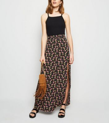 Black Floral Split Side Maxi Skirt