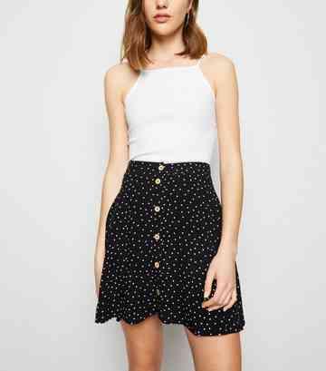 5077f2e2030ef0 Black Spot Button Up Mini Skirt ...