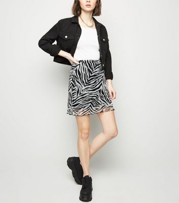 Black Zebra Print Mesh Tube Skirt