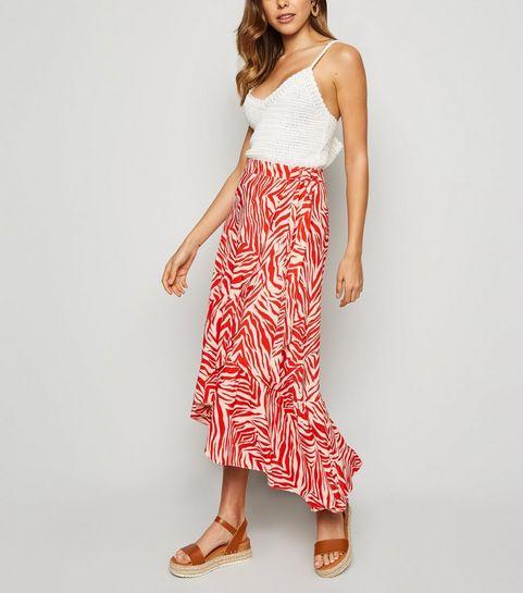 598ba3e432b63 ... Red Zebra Print Ruffle Midi Skirt ...