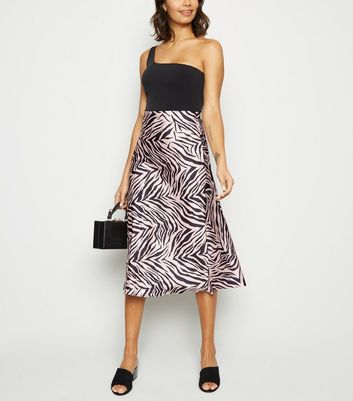 Pink Satin Zebra Print Bias Cut Midi Skirt