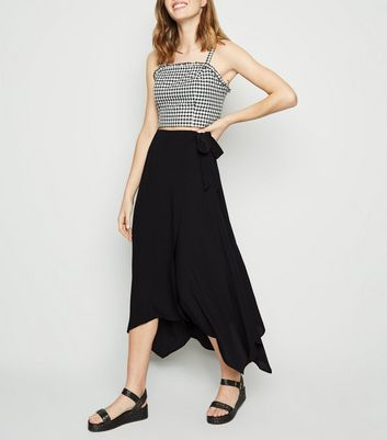Black Hanky Hem Wrap Skirt
