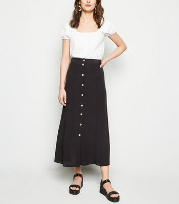 Black Plain Button Front Midaxi Skirt